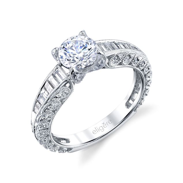 Paisley Baguette Engagement Ring